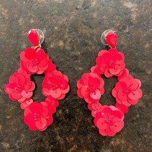 Jcrew Red Sequin Statement Earrings